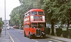 London Transport: RT1332 (KLB581) from Norbiton Garage in Fairfield West, Kingston on Route 65 (Mega Anorak) Tags: bus rt londontransport weymann aec route65 norbitongarage regentiii fairfieldwest kingstonuopnthames