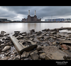 History of Rock (esslingerphoto.com) Tags: city longexposure greatbritain england building london animal thames architecture clouds trash river photography eos europe long exposure dof mud britain album capital great shoreline pinkfloyd architectural stereo abandon shore single battersea thrownout esslinger esslingerphotocom