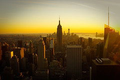 Sunset over New York City (Anthony Clark) Tags: new york city nyc newyorkcity sunset usa newyork color colour skyline buildings colorful cityscape skyscrapers unitedstates manhattan empirestatebuilding colourful