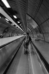 stand on the right (sheila mckinney) Tags: london film underground blackwhite tube nikonn80 jubileeline se1 waterloostation fujineopan1600 50mm18lens summer2012