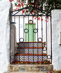 Entrance (Ulf Bodin) Tags: door wall stairs fence spain gate mosaic bougainvillea andalusia andalusien spanien mosaik salobrea drr trappa vertorama canonef24mmf14liiusm canoneos5dmarkiii