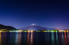 Fuji Twilight (lestaylorphoto) Tags: camera bridge november blue autumn sunset mountain lake snow water beautiful japan photography volcano tokyo nikon long exposure fuji dusk tripod tokina shore hour  fujisan  gaijin   manfrotto kawaguchiko         1116mm d7000