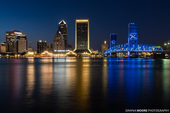 Downtown Jax at Blue Hour, Jacksonville, Florida (DawnaMoorePhotography) Tags: lovefl dark fl florida photography tourist acostabridge afterdark atnight bluehour citylights cityskyline dawnamoorephotography dawnamoorephotographycom destination downtown dusk evening image jacksonville jax lowlight night photo photograph picture reflection riverwalk stjohnsriver travel twilight waterfountain unitedstates us