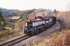 PS 1775, Timblin, PA 10-24-89 (jackdk) Tags: train railroad railway shortline ps pittsburgshawmut shawmut shamutline coal coaltrain switcher emd emdsw9 sw9 sw900 fall fallcolor