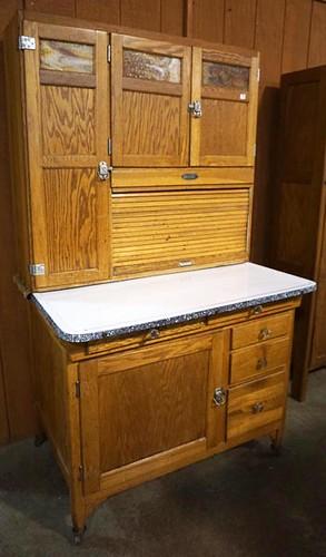 Oak Sellers Kitchen Cabinet w/ Slag Glass ($644.00)