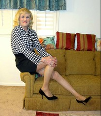 Oh- I Have a Leg Cramp (bobbievnc) Tags: tgirl crossdresser blonde blondehair blouse skirt shortskirt tighrskirt pantyhose pantyhoselegs tanpantyhose heels highheels pumps