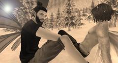 Snow Bathing (niki wirefly) Tags: fae fairy male fairey fantasy landscape couple secondlife men people lufian wings niki love sl