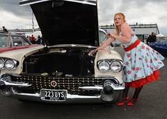 Ange L'Que_8827 (Fast an' Bulbous) Tags: car vehicle american classic oldtimer girl woman milf mature dress stockings nylons high heels stilettos sexy chick babe nikon d7100 gimp santa pod england