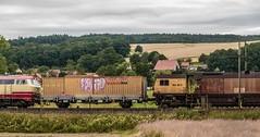 3201_2016_07_16_Haunetal_Neukirchen_DB_218_105_mit_Schweerbau_SBAU_9427_002_RG_48_II_Schienenschleifer_DGV_91542_Be (ruhrpott.sprinter) Tags: ruhrpott sprinter deutschland germany nrw ruhrgebiet gelsenkirchen lokomotive locomotives eisenbahn railroad zug train rail reisezug passenger gter cargo freight fret diesel ellok hessen haunetal boxxboxxpress db egp ell hhla hsl hvle lbllocon metrans mrcedispolokdispo bb railpoolrpool rbh rhc schweerbau sbbc txltxlogistik wienerlokalbahnencargo 143 145 152 182 185 193 218 270 428 650 1264 1266 421 es64u2 es64f4 greencargo ice r5 outdoor logo natur sonnenaufgang graffiti rinder