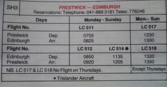 Remember the days when you could only fly transatlantic from Prestwick? This timetable extract shows a Loganair connecting flight from Edinburgh. (calderwoodroy) Tags: loganairtimetable timetable scottishairports loganair pik glasgowprestwick prestwick edi scotland edinburgh edinburghairport
