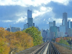 The Green Line travels through the urban forest (yooperann) Tags: autumn light chicago green fall skyline train downtown day cta skyscrapers cloudy loop authority tracks rail el line transit l elevated greenline chicagoist