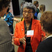 Former congresswoman Eva Clayton chats with other speakers during the North Carolina Campuses Against Hunger conference at Elon.