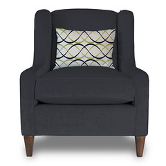 Carmel Accent Chair in Ink Velour with a Dune Lime, Ink, and Natural (PURE Inspired Design) Tags: customfurniture organicfabric ecofriendlyfurniture woolrugs