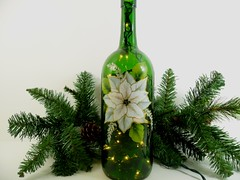 Lighted Wine Bottle White Poinsettia Hand Painted 1 Liter (Painting by Elaine) Tags: lighting christmas white holiday green lights bottle bottles painted poinsettia handpainted etsy winebottle homedecor lighted barlight paintedglass paintedbottle accentlight handpaintedglass bottlelights lightedwinebottle paintingbyelaine lightedbottle