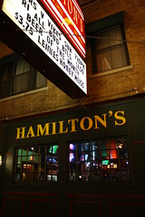 Hamilton's (Flint Foto Factory) Tags: camera city autumn urban chicago fall sign bar night evening illinois october nocturnal letters rosemont devon storefront loyola grille closing tatertots sheridan edgewater 1933 institution rogerspark established 2011 sooc nbroadway straightoutof