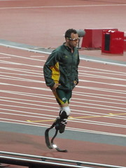 Oscar Pistorius before the 400m T44 final