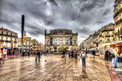 Place de la Comédie (Jean-Phi92) Tags: france canon cloudy south wideangle montpellier 7d nuages hdr sud languedocroussillon sigma1020mmf35