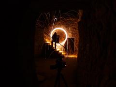 behind the scenes (MM ) Tags: longexposure lightpainting silhouette newcastle spin slowshutter lighttrails sparks 8mm jesmonddene wirewool singleexposure northeastofengland sooc montoff
