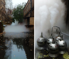 Science daily #28: Diptych - the effect and the cause (Sergei Golyshev (AFK during workdays)) Tags: autumn mist water leaves rain fog yard outdoors back diptych research fallen effect liquid nitrogen hdr dewars humidity supply iphone ln2 dewar consumables дьюар наука азот sciencedaily жидкий сосуд дьюара