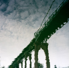 Outside in, downside up (Zeb Andrews) Tags: reflection film oregon square portland arch gothic hasselblad pacificnorthwest bridgetown willametteriver stjohnsbridge cathedralpark butwhy hasselblad500c bluemooncamera youcouldjustdothisinphotoshop