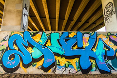 MUCH (TheLost&Found) Tags: street bridge blue urban streetart west color art fall minnesota metal wall by train canon bench typography photography eos graffiti amazing midwest paint painted devils letters creative gang tracks cities minneapolis twin msp rail best mpls crew 7d much graff minds aerosol hm saintpaul burner heavy exploration sick mn yen infected mid 34 freight rolling aerosolart mucho urbex ibd benched jurne benching yen34 thelostfound