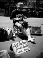 Lost brain (Dee-) Tags: blackandwhite bw streetphotography australia melbourne olympus busker ep1 17mm olympusep1