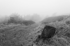 Rock in the Fog (Gary Danton) Tags: england white black rock fog digital blackwhite nikon unitedkingdom january bolton horwich lightroom lancs 2013 d5100