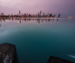 Subtle Reflections (Brian Koprowski) Tags: sunset distortion chicago reflection skyline architecture night evening pentax sears lakemichigan greatlakes fisheye hancock trump aon hdr willis sheddaquarium 311swacker lightroom secondcity adlerplanetarium windycity pentaxk5 briankoprowski bkoprowski