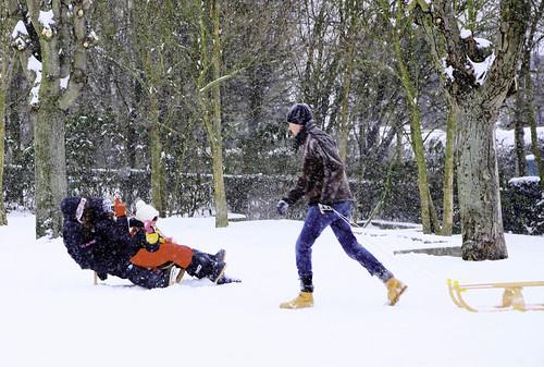 Belgique - Bruxelles - Woluwe-St-Lambert - Tombe la neige