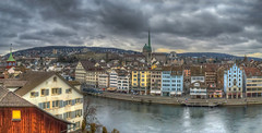 The sky over Zurich (Fil.ippo (AWAY)) Tags: city travel photoshop switzerland nikon cityscape swiss zurich photomerge svizzera viaggio hdr filippo citt limmat zurigo filippobianchi