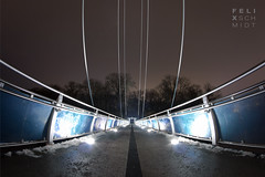 The Bridge (Felix Schmidt Photography) Tags: bridge light detail reflection lines architecture night canon reflections germany photography eos lights evening exposure mood photographer angle details curves perspective clarity ground wideangle line fisheye dreams balance curve tones tone halle walimex sharpness hallesaale saxonyanhalt composiiton 60d rabeninsel