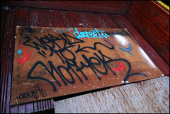 Sickboy / Dscreet / Word to Mother / Cyclops (Alex Ellison) Tags: urban graffiti bc tag cyclops cargo sickboy eastlondon dscreet wtm wordtomother burningcandy savetheyouth