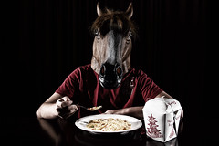 Feeding Time (Duftek......) Tags: lighting horse food dinner canon mask chinese takeout strobist horseboy lumopro duftek