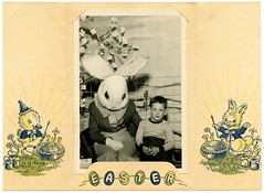 A Visit with the Easter Bunny (Alan Mays) Tags: old blue blackandwhite bw white black cute green bunnies chickens boys yellow portraits vintage painting easter children typography funny holidays humorous photos humor ephemera photographs brushes type eggs chicks folded rabbits amusing fonts folder easterbunny holder paintbrushes paints typefaces foundphotos eastereggs easterrabbit paintcans studioprops