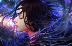 UNIVERSE (Duy2k12Bad) Tags: woman portrait painting illustration drawing digital art fantasy galaxy stars universe feathers hair floating blue red light realistic alleena valentina remenar tincekmarincek photoshop wacom 2014