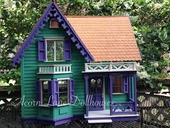 IMG_0415 (AcornLaneDollhouses) Tags: westville greenleaf dollhouse exterior green shingled siding handcrafted gingerbreadtrim