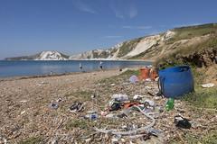 When the beach is full please use the bin (Mark Rigler UK) Tags: dirty rubish beach dorset coast cliffs sky sea water