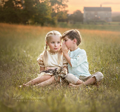 Can You Keep a Secret? (liliaalvarado) Tags: boy girl field conversation country side secret kids children canon nature blond vintage