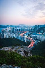 Above the City. (Todd Danger Farr) Tags: busan southkorea korea city cityscape sunset nights lighttrails longexposure