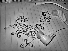 Ink Music (scatoladeiricordi) Tags: ink music blackandwhite bew black white notes headphones earphones jack soundofsilence sound silence simonandgarfunkel rock paper sheet quire pages people lowkey trebleclef violinkey pentagram abstract drawing dark photo shot nofilter noedit