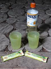 Vilsa H2 Obst Apfel-Orange und Buttermilch-Zitrone-Msliriegel bei Rast im Bexter Wald (multipel_bleiben) Tags: essen picknick msli getrnk knabber