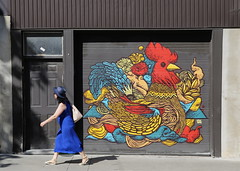 Rooster Blues (Alex L'aventurier,) Tags: montreal montral quebec canada street rue candid woman femme urbain urban murale mural art graffiti ville city colors colour couleurs door porte mur wall coq rooster