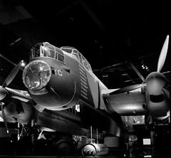 Lancaster Bomber (Shooting Ben) Tags: lancaster bomber raf wwii caffenol mamiya c330 film plane blackandwhite bw australian war memorial canberra act
