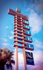 Where it begins (SarahBelle17) Tags: hotel flamingo life sign neon tree perspective tucson begin desert amateur