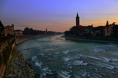 Verona at sunset (annalisabianchetti) Tags: verona veneto river fiume adige italy paesaggio landscapes sunset tramonto water