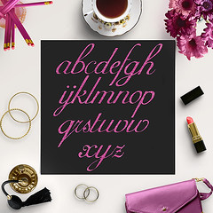 Pink Glitter Alphabet Clipart (northseastudio) Tags: clipart etsy glitter letters pink