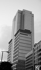 A tall building that gets some neat views (Of billboards) (ZKent.Yousif) Tags: minatoku tkyto japan jp chiyodaku  chku  canon sigma sigma1750mm 50mm streetphotography street building architecture bw blackandwhite