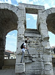 Arles Amphitheatre (AmyEAnderson) Tags: outdoor amphitheatre coliseum stadium limestone architecture climbing man person arles bouchesdurhone provence france historic roman romanesque bricks stonework steps unesco