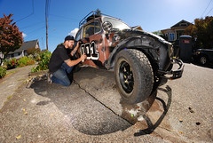 Adam Provo - #001 (. o 0 Sam 0 o .) Tags: nikon d80 rokinon8mmf35fisheyeae8mn sb600 pocketwizard pocketwizards vw bug baja rally car minitt1 flextt5 honeybucket seadubbs spraypaint fisheye