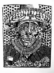 daemon (Papelera Xilogrfica) Tags: xilografia woodcut woodcutprint printmaking xilo grabado grafica xilogravura gravura arte art latinoamerica cultura daemon simbolos simbologia mascara sagrado religion popular artepopular artecallejero estampa estampado esculapioperez bw bn chacana vino carnaval